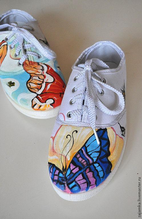 Обувь ручной работы. Ярмарка Мастеров - ручная работа. Купить бабочки на тапочках. Handmade. Обувь ручной работы, обувь