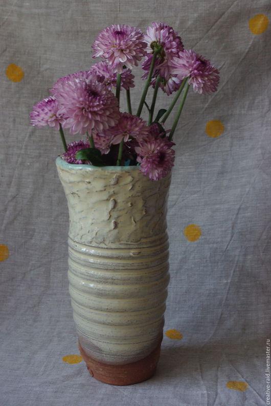 Декоративная посуда ручной работы. Ярмарка Мастеров - ручная работа. Купить Ваза для цветов. Handmade. Бежевый, цветы