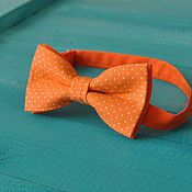 Аксессуары handmade. Livemaster - original item Tie Vita / orange bow tie with white polka dots. Handmade.