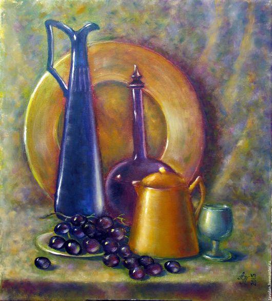 Натюрморт ручной работы. Ярмарка Мастеров - ручная работа. Купить Натюрморт с виноградом. Холст, масло. Handmade. Комбинированный, натюрморт