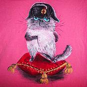 Одежда handmade. Livemaster - original item T-shirt  hand painted the cat Napoleon. Handmade.