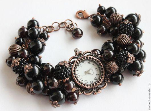 """Часы ручной работы. Ярмарка Мастеров - ручная работа. Купить Часы """"Чёрная смородина"""". Handmade. Черный, смородина, часы"""