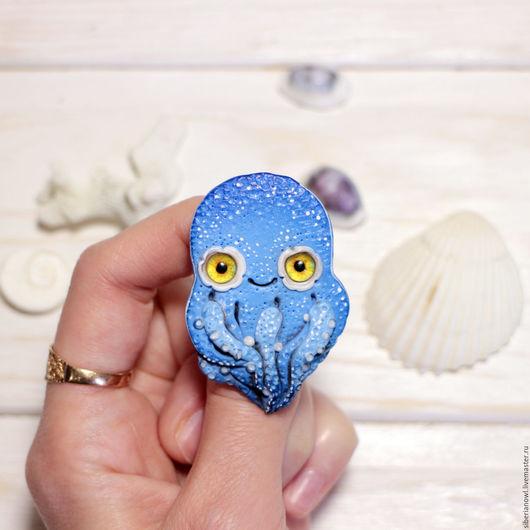 Броши ручной работы. Ярмарка Мастеров - ручная работа. Купить Осьминог украшение брошь морская тема медуза. Handmade. Медуза
