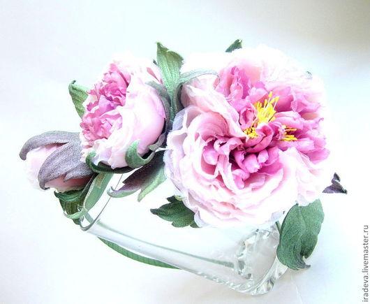 Диадемы, обручи ручной работы. Ярмарка Мастеров - ручная работа. Купить Цветы из шелка.  Розы на ободке.. Handmade. Брусничный