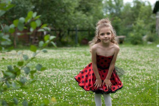 Нарядное детское платье стиляги в горошек. Платье ручной работы.