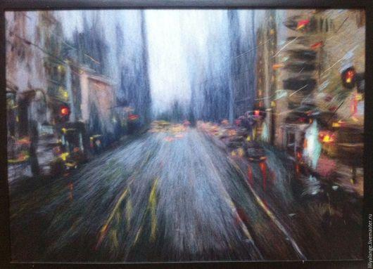 """Город ручной работы. Ярмарка Мастеров - ручная работа. Купить картина из шерсти """" Дождливый  день на М.ст. """". Handmade."""