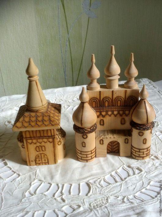 Винтажные сувениры. Ярмарка Мастеров - ручная работа. Купить Башенка , Храм и баночка дерево сувениры винтаж. Handmade. Бежевый