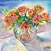 Картины и панно ручной работы. Ярмарка Мастеров - ручная работа Акварель, картина акварелью. Розы у моря.. Handmade.