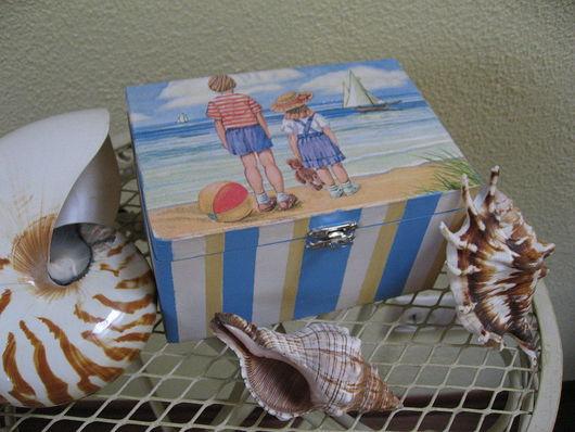 """Шкатулки ручной работы. Ярмарка Мастеров - ручная работа. Купить Шкатулка """"Воспоминания о море"""". Handmade. Шкатулка, шкатулка для чая, полосатый"""