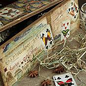 """Для дома и интерьера ручной работы. Ярмарка Мастеров - ручная работа Ящик для вина """"Карты и бабочки"""". Handmade."""
