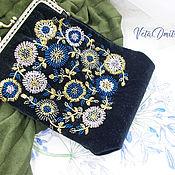 Сумки и аксессуары handmade. Livemaster - original item Handbag with clasp: black with floral pattern embroidery. Handmade.