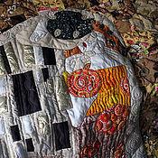 """Для дома и интерьера ручной работы. Ярмарка Мастеров - ручная работа """"По мотивам """"Поцелуя"""" Климта""""- лоскутное покрывало. Handmade."""