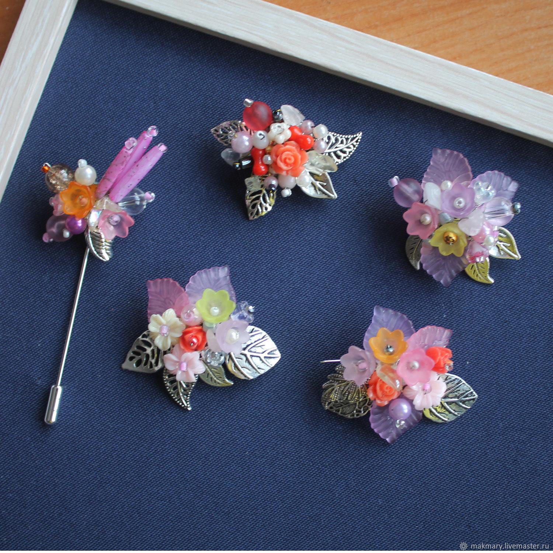Розовая весна, Комплект брошей, Апатиты,  Фото №1