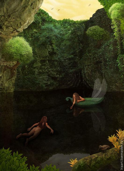"""Фотокартины ручной работы. Ярмарка Мастеров - ручная работа. Купить Фотосказка """"Затерянный мир"""". Handmade. Тёмно-зелёный, лес, русалка"""