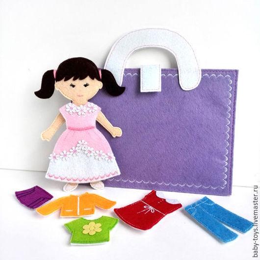 Развивающие игрушки ручной работы. Ярмарка Мастеров - ручная работа. Купить Кукла Анюта с комплектом одежды. Развивающая игрушка из фетра (3+). Handmade.