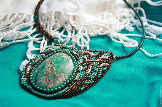 Колье, бусы ручной работы. Ярмарка Мастеров - ручная работа. Купить Ожерелье Имперское. Handmade. Бирюзовый, зеленый, яшма