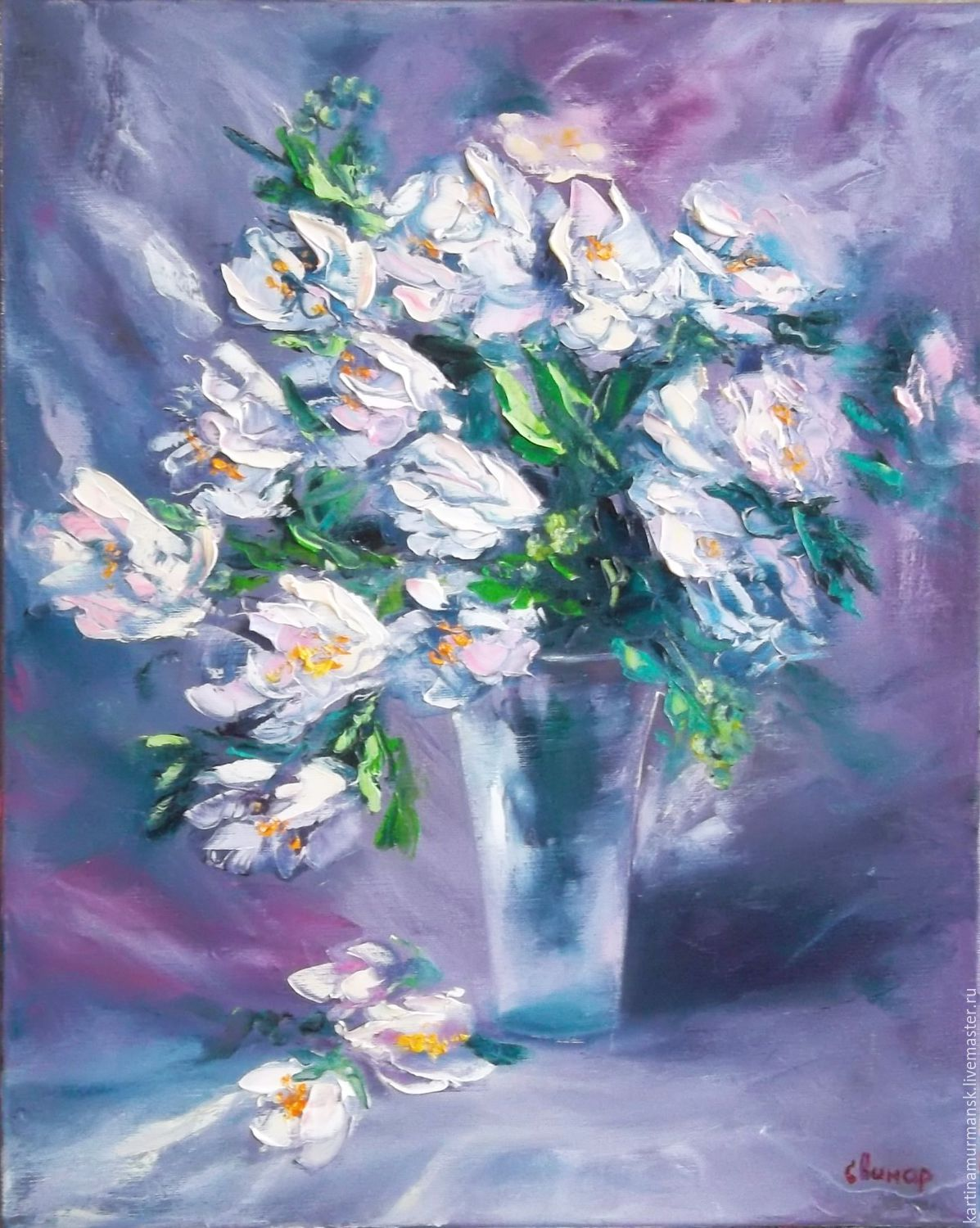 Oil painting on canvas flowers 50/40 'I give you spring', Pictures, Murmansk,  Фото №1