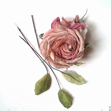 Цветы и флористика ручной работы. Ярмарка Мастеров - ручная работа Роза брошь Пыльный Vintage цветы из шелка аксессуары брошь заколка. Handmade.