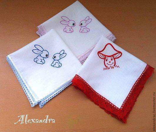 Носовые платочки ручной работы. Ярмарка Мастеров - ручная работа. Купить Детские носовые платочки. Handmade. Детский платочек, кружево