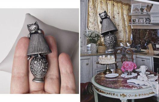 """Винтажные украшения. Ярмарка Мастеров - ручная работа. Купить Винтажная брошь """"Котик на лампе"""" AJC. Handmade. Серый, винтаж, пьютер"""