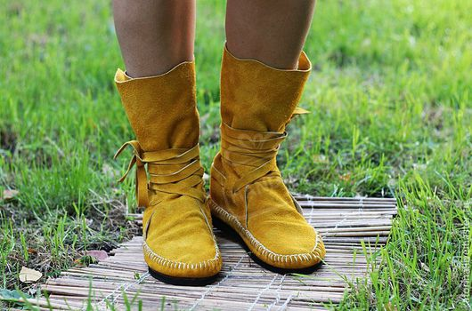Handmade Shoes handmade. Livemaster - handmade. Buy boot moccasins made of genuine leather in mustard.Boots