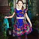 """Одежда для девочек, ручной работы. Платье в народном стиле для девочки """"Павлина"""". 'Рюши Ксюши' (Kseniya-spb). Интернет-магазин Ярмарка Мастеров."""