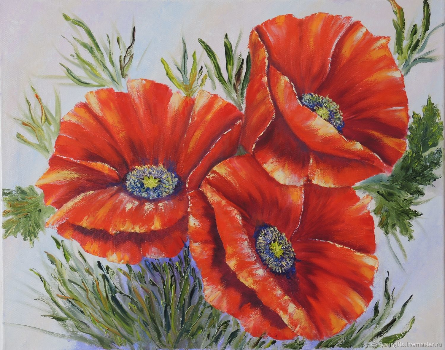 """""""Bright poppies"""" oil Painting, Pictures, Moscow,  Фото №1"""