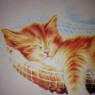 Одежда ручной работы. Ярмарка Мастеров - ручная работа 50 % на Футболки:  Рыжий кот на отдыхе. Handmade.