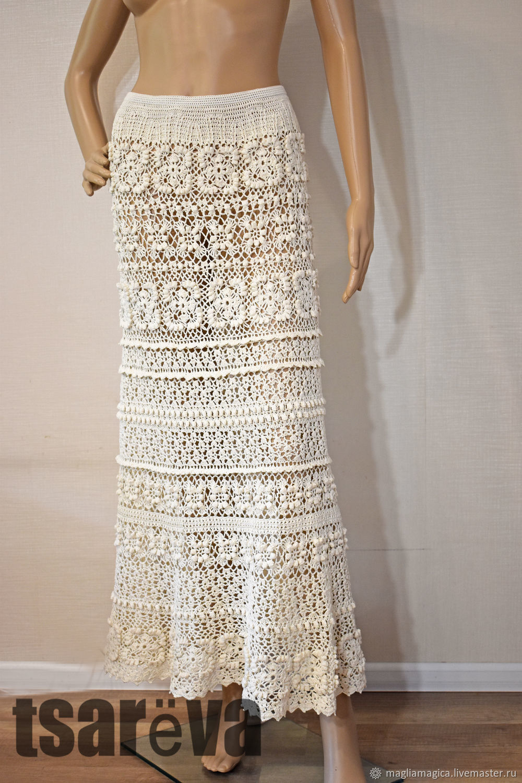 Long elegant knit skirt Kelly. Hook, cotton, Skirts, Odessa,  Фото №1