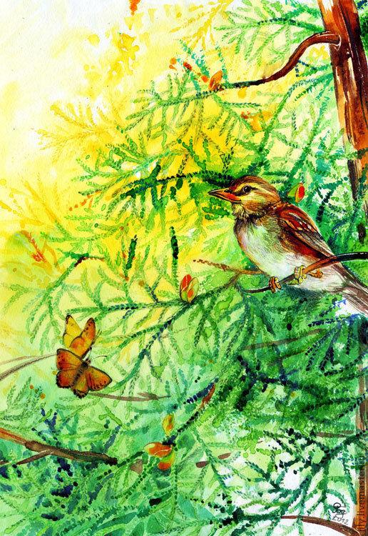 """Пейзаж ручной работы. Ярмарка Мастеров - ручная работа. Купить Картина """"В лесу"""". Handmade. Осень, лес, дерево, иллюстрация"""