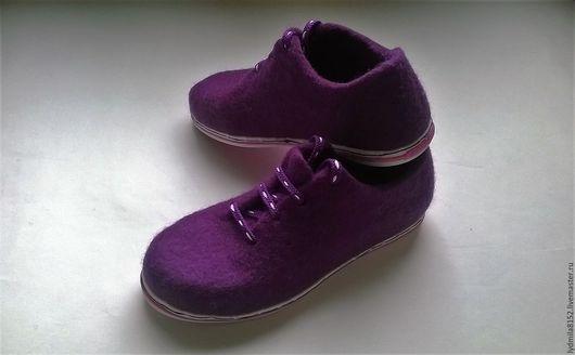 """Обувь ручной работы. Ярмарка Мастеров - ручная работа. Купить Валяные туфли """"Сирень"""". Handmade. Сиреневый, шерсть"""