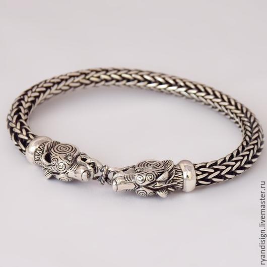 Браслет из серебра, Медведи (мужской или женский)