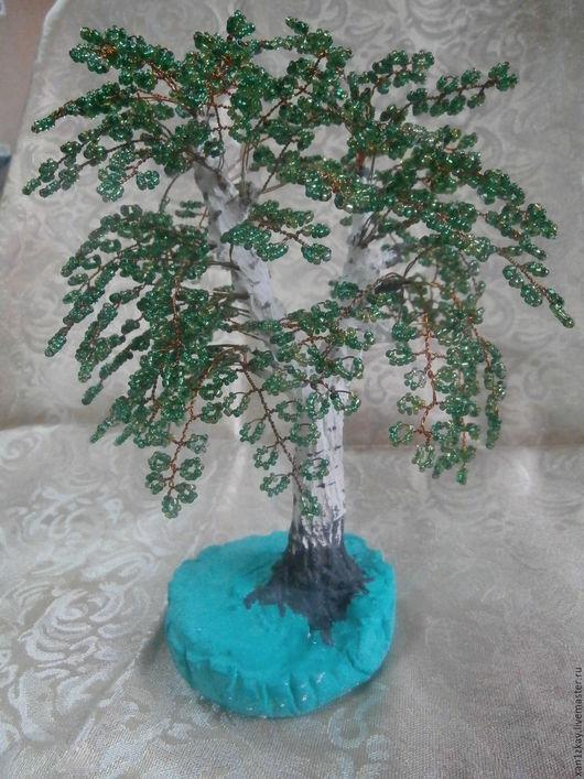Деревья ручной работы. Ярмарка Мастеров - ручная работа. Купить Береза из бисера. Handmade. Зеленый, береза из бисера