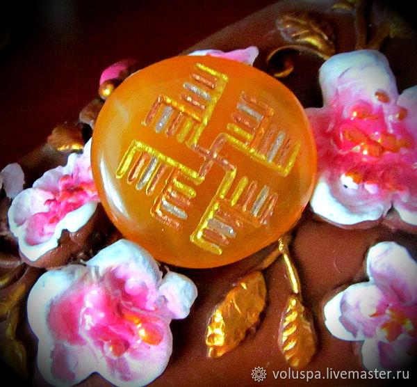 """Камень-Оберег """"Денежник"""",алтайский знак,(Кальцит,плашка), Amulet, Sochi,  Фото №1"""