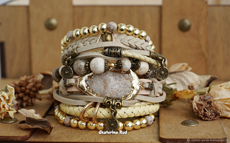 BOHO-chic style bracelet with quartz ' Delicate gold', Bead bracelet, Moscow,  Фото №1