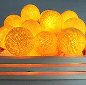 """Для дома и интерьера ручной работы. Ярмарка Мастеров - ручная работа Светящаяся гирлянда из фонариков """"Ярко-желтая"""", шарики, хлопок. Handmade."""