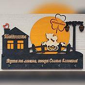 Подвески ручной работы. Ярмарка Мастеров - ручная работа Ключница Кошки на луне и Семья. Handmade.