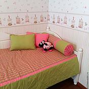 Для дома и интерьера handmade. Livemaster - original item Bedspread in pink plaid with pillows for the nursery. Handmade.