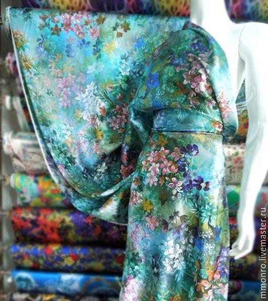 Шитье ручной работы. Ярмарка Мастеров - ручная работа. Купить Яркий, благородный 100% шелк Луговые цветы. Handmade. Ткань