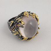 Украшения handmade. Livemaster - original item Silver ring with rose quartz, lolite and rhodolite. Handmade.