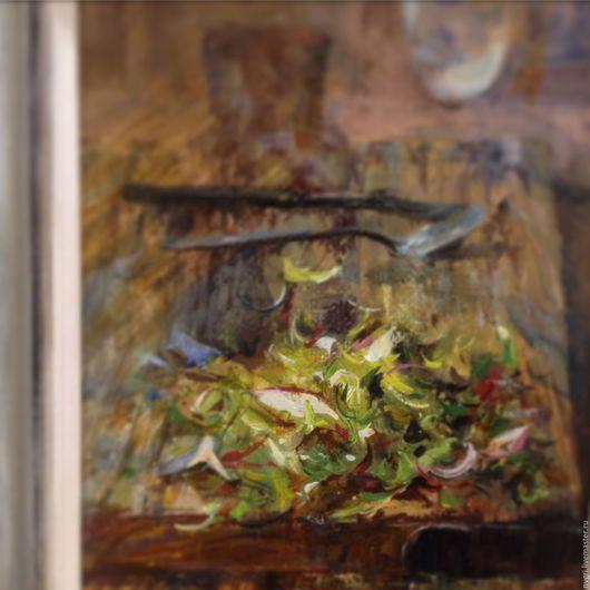 """Натюрморт ручной работы. Ярмарка Мастеров - ручная работа. Купить Картина """"Весенний салатик"""".. Handmade. Комбинированный, натюрморт, холст на подрамнике"""