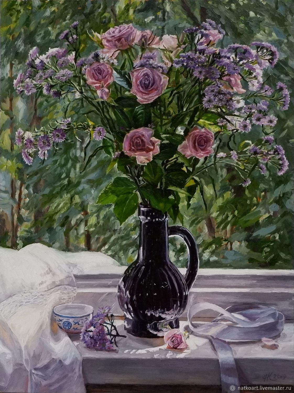 Цветы на окне, Картины, Иркутск, Фото №1