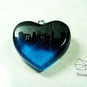 Украшения handmade. Livemaster - original item Wood pendants black hornbeam and resin heart. Handmade.