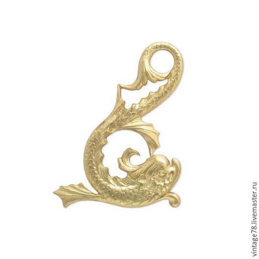 Для украшений ручной работы. Ярмарка Мастеров - ручная работа. Купить HR Винтажная фурнитура, латунный штамп дельфины(цена за пару). Handmade.