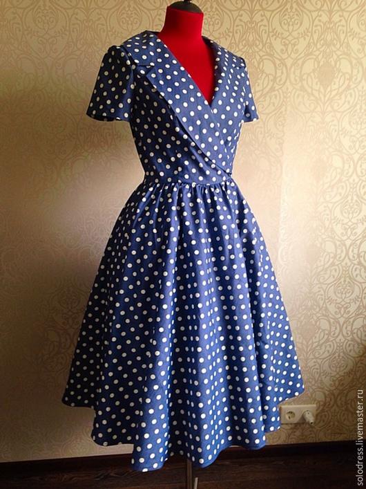 """Платья ручной работы. Ярмарка Мастеров - ручная работа. Купить Платье """" Горошек"""" в стиле 50-х от SOLOdress. Handmade."""