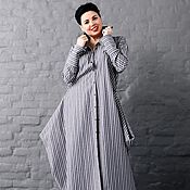Одежда handmade. Livemaster - original item Shirtdress with angles striped Italian cotton. Art. 2139. Handmade.