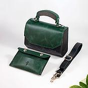 Сумки и аксессуары handmade. Livemaster - original item Amely-Leather women`s handbag black and green. Handmade.