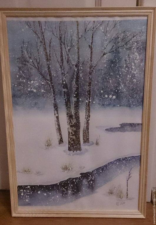 Пейзаж ручной работы. Ярмарка Мастеров - ручная работа. Купить Рождественский снег в лесу. Handmade. Голубой, добрые картины