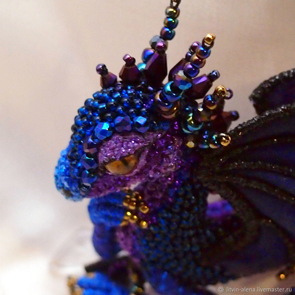 "Brooch Beads: Brooch Dragon ""Layla"". Brooch Beads. Blue-purple Dragon"