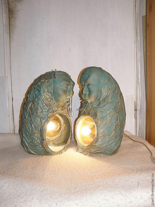 Элементы интерьера ручной работы. Ярмарка Мастеров - ручная работа. Купить скульптуры Мужчина и Женщина (светильник и зеркало). Handmade. Зеленый